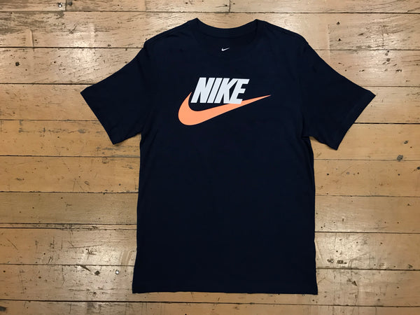 Nike Futura Icon T-Shirt - Midnight Navy/White/Orange Pulse