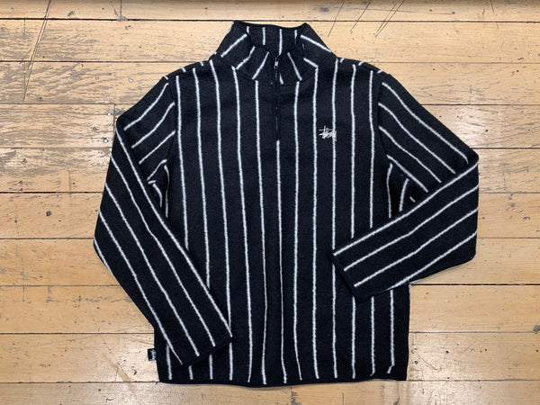 Polar Fleece Half Zip - Black/White Stripe