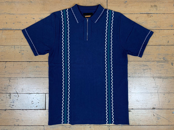 Vito Zip Polo Shirt - Navy