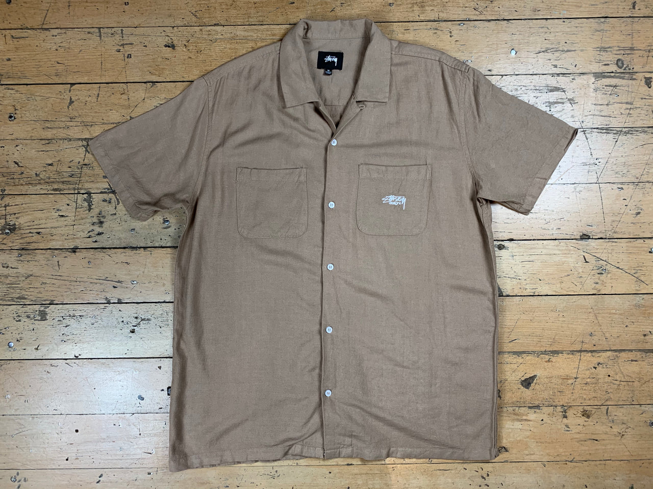 Stussy Linen SS Shirt - Light Tan