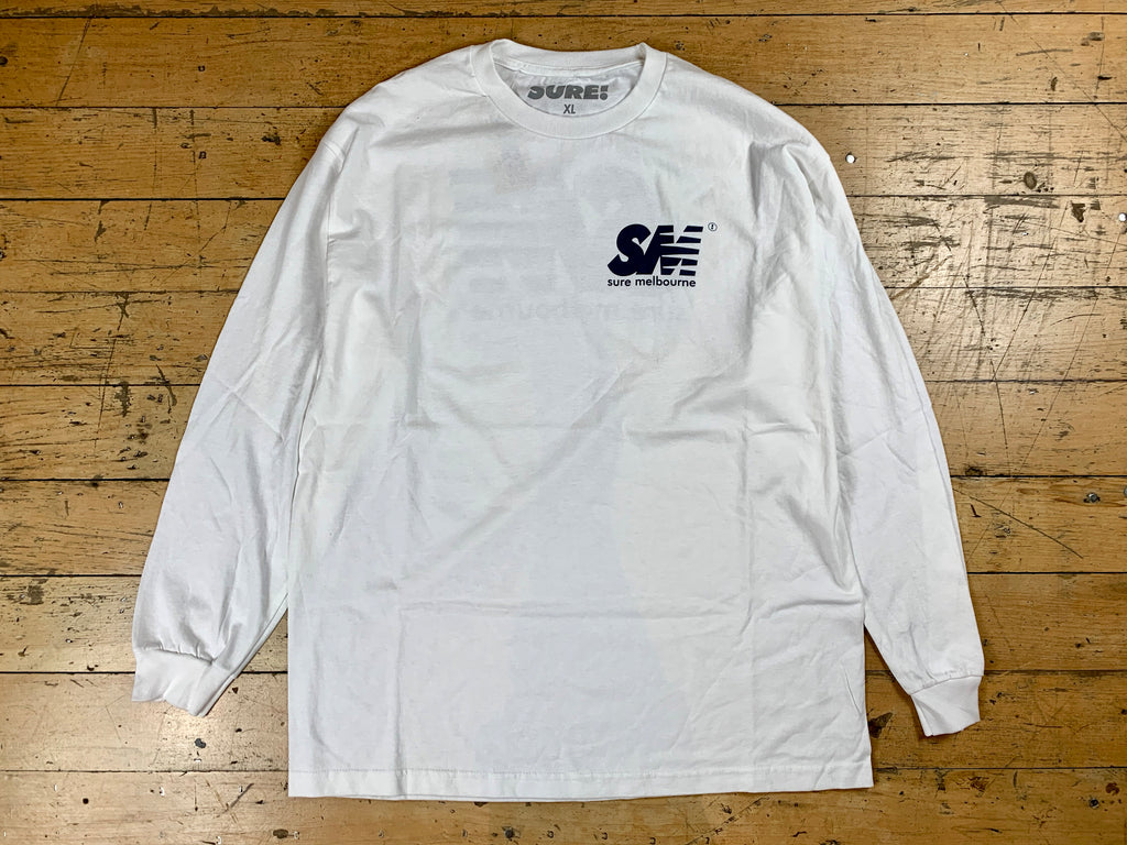 SM Logo LS T-Shirt - White / Navy