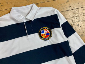 Badge Logo Stripe Rugby Jersey - White / Navy