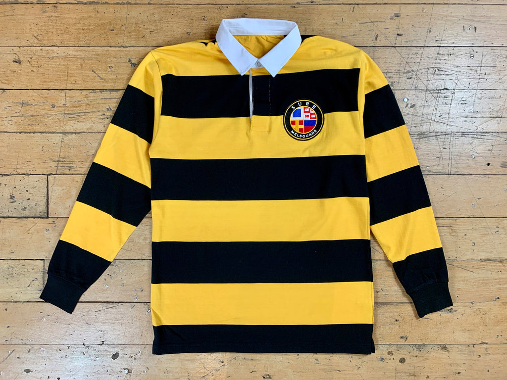 Badge Logo Stripe Rugby Jersey - Black / Yellow