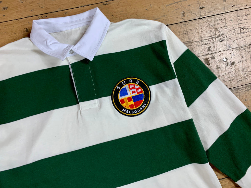 Badge Logo Stripe Rugby Jersey - Natural / Forest