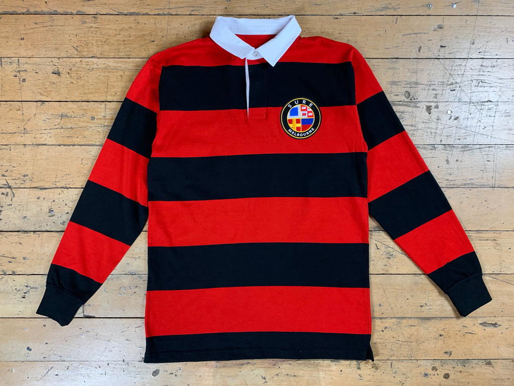 Badge Logo Stripe Rugby Jersey - Black / Red