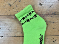 Barb Wire Half Socks - Safety Green