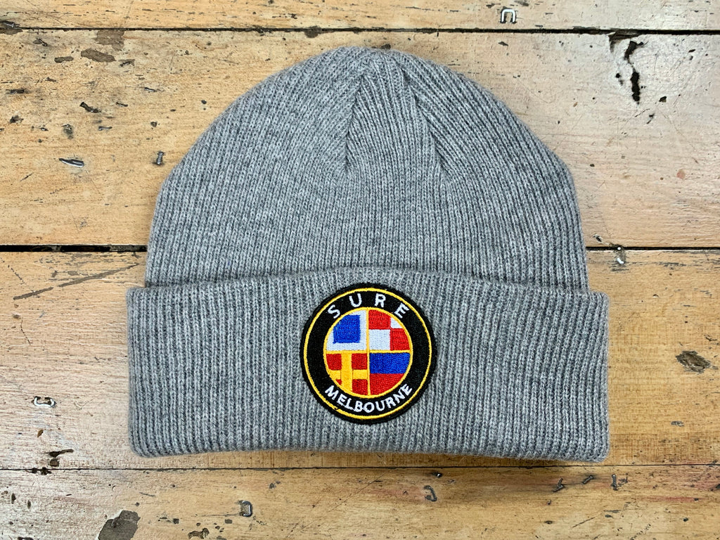 Badge Logo Knit Beanie - Grey Marle