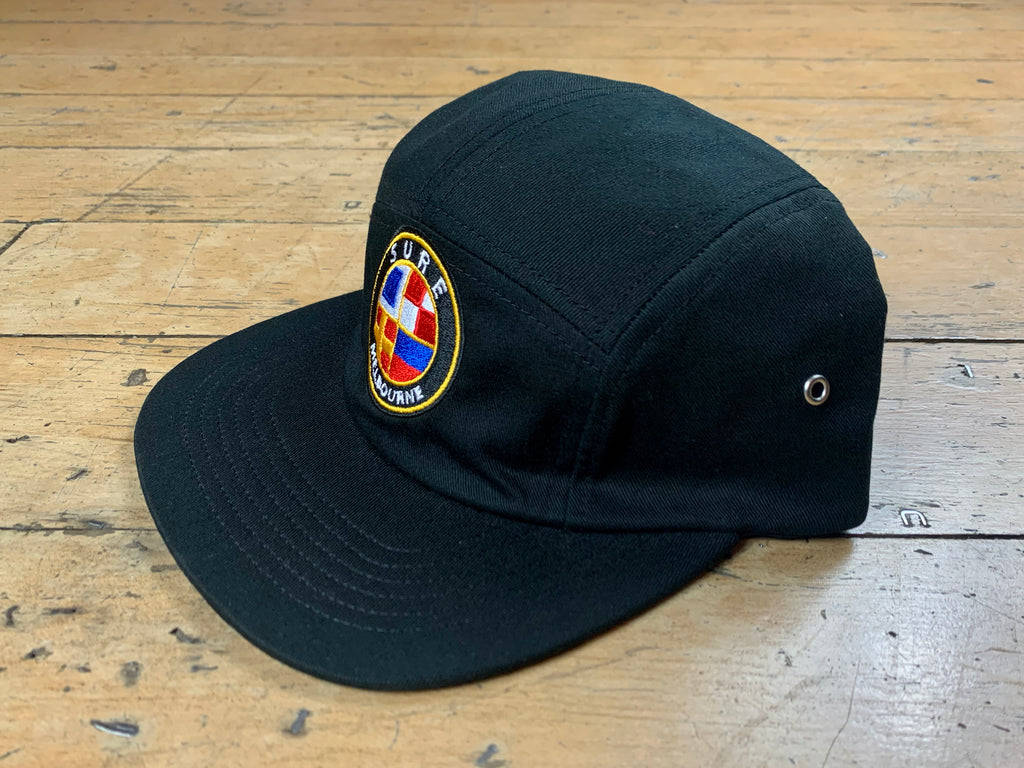 Badge Logo 5 Panel Cap - Black