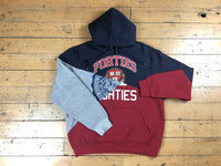 Split Personality Hood - Heather/Navy/Crimson