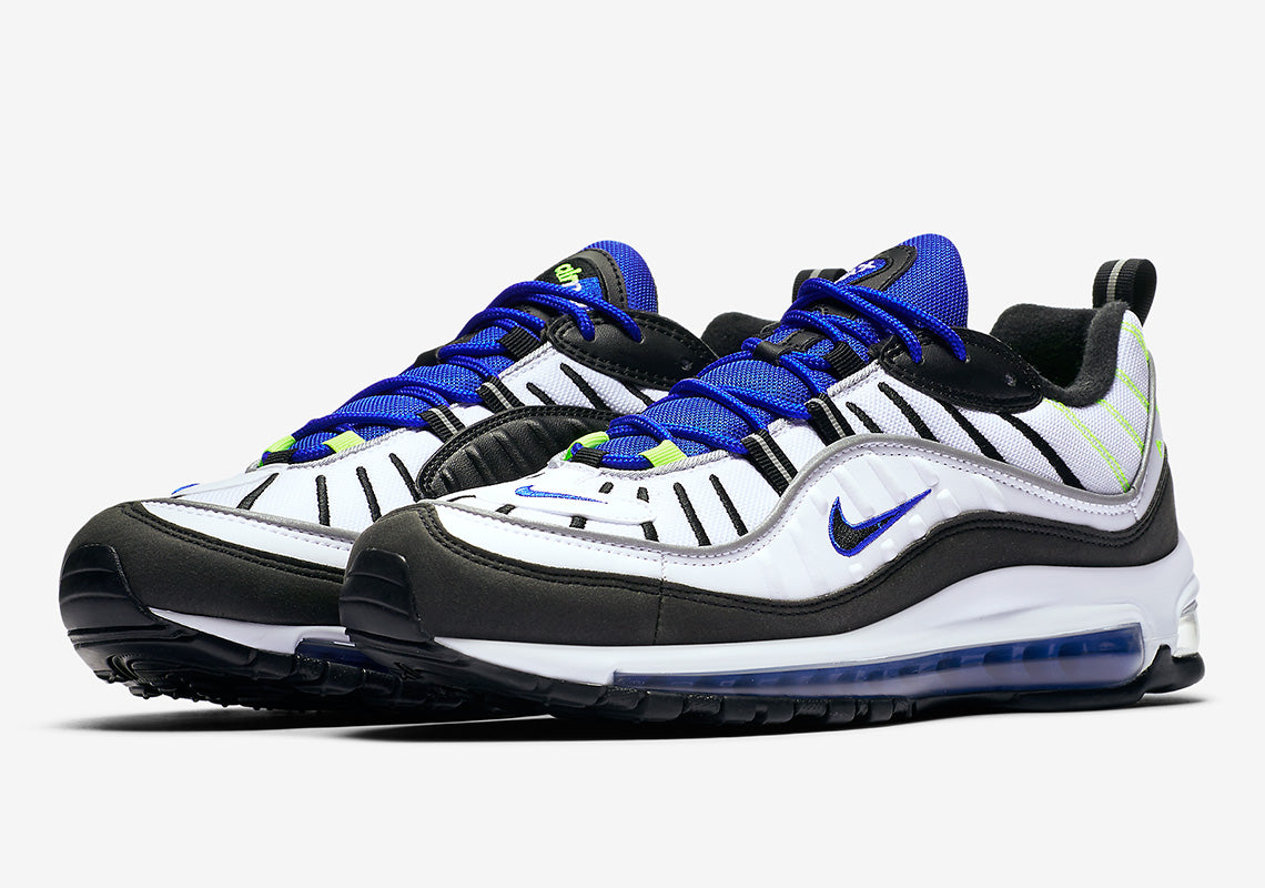 best service a3d40 37498 Air Max 98 - White Black Racer Blue Volt
