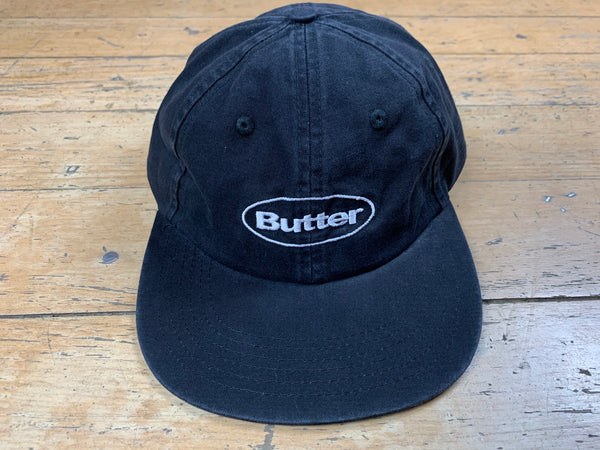 Washed Badge 6 Panel Cap - Black