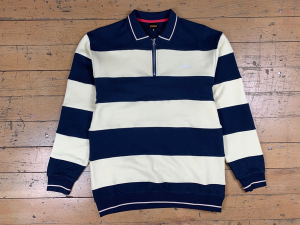 Ivy Stripe 1/4 Zip Pullover - Navy/Bone