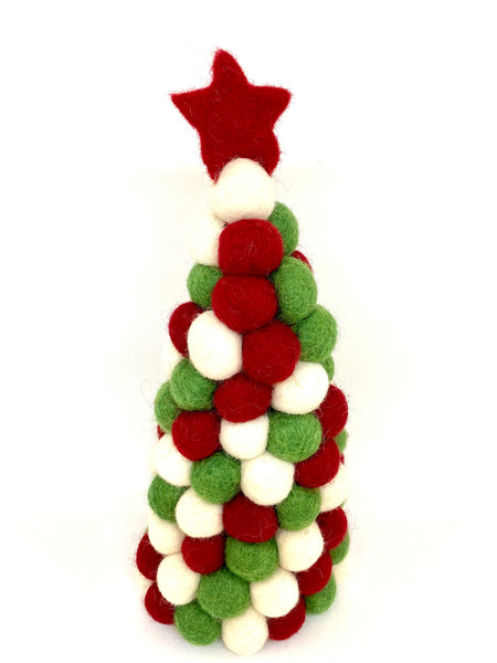 Pashom felt ball Xmas tree green