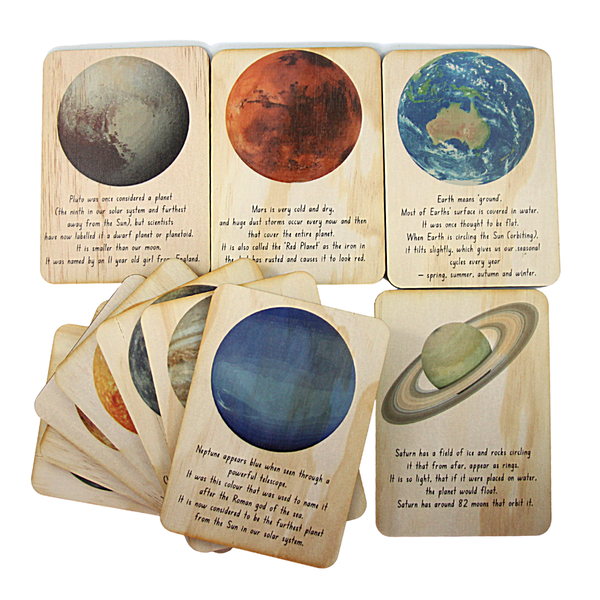 Wooden outer space cards