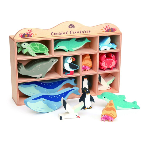 Tender leaf coastal set wooden sea creatures