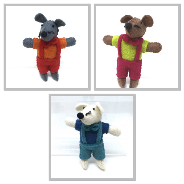 Pashom Felt mouse in overalls