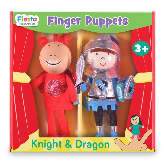 Fiesta Crafts Knight and Dragon finger puppet set