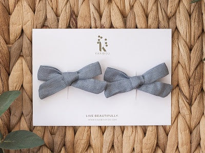 Karibou Linen bow hair clip set french blue