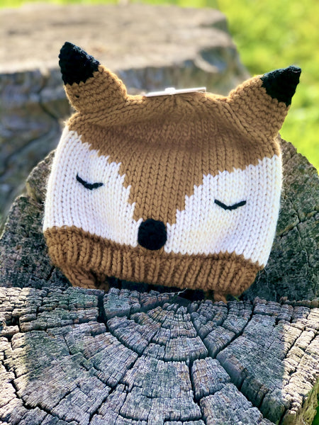 Fox knitted beanie