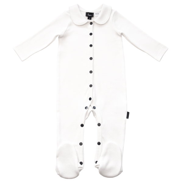 Pappe Tolly Luxe Organic Footed romper white