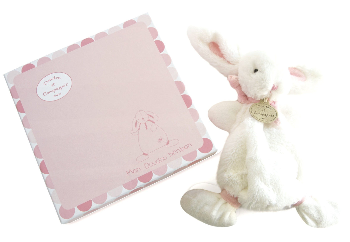 Dou Dou et Compagnie rabbit comforter taupe or pink or blue BABY Doudou et Compagnie pink