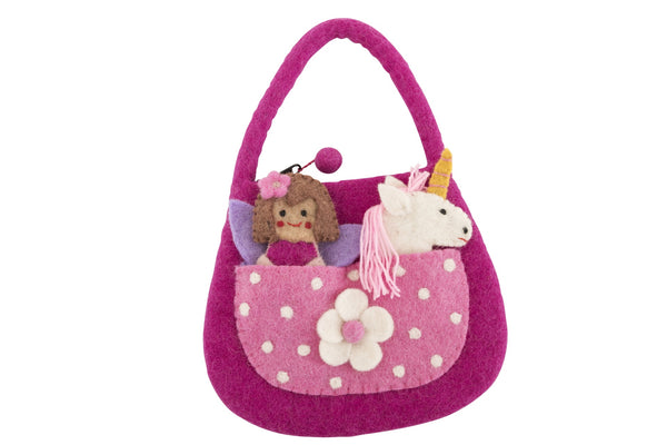 Pashom Felt unicorn finger puppet fairy bag