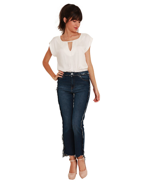 Calça Jeans Cut-Off Ankle