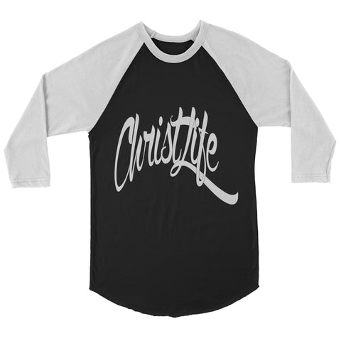 ChristLife Logo Black and White Baseball Tee