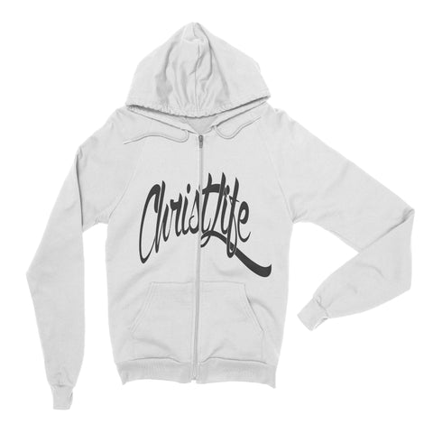 ChristLife Logo White Full-Zip Hooded Sweatshirt