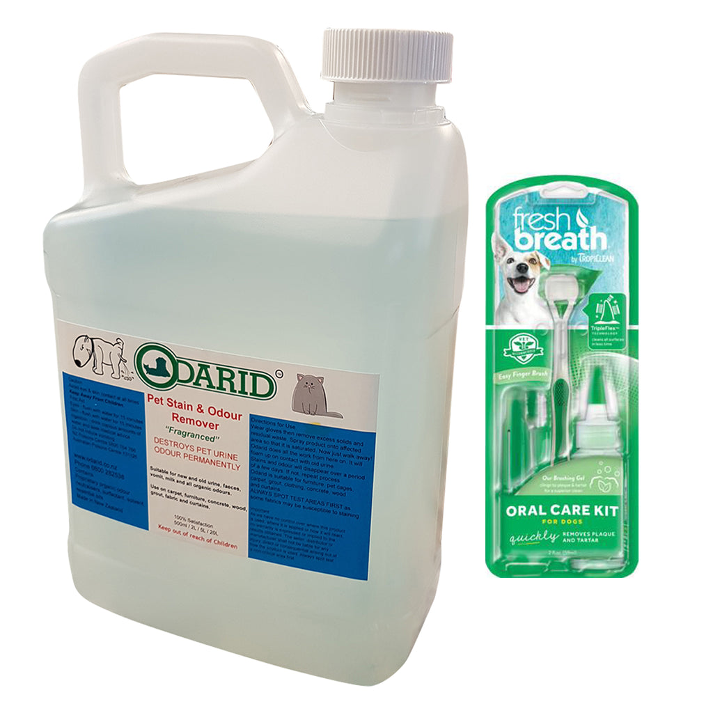 Pet Stain & Odour Remover Fragranced 2 Litre and Dog Oral Kit