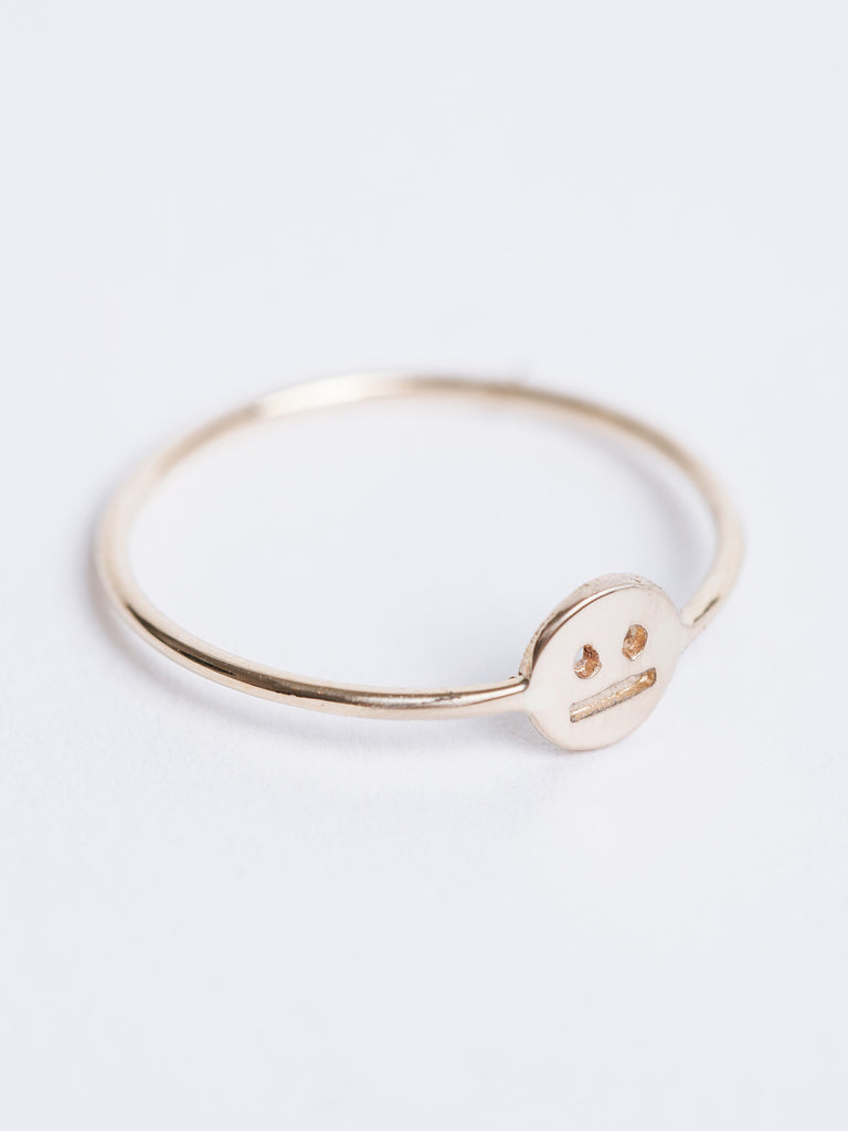 BORED FACE RING / 14K