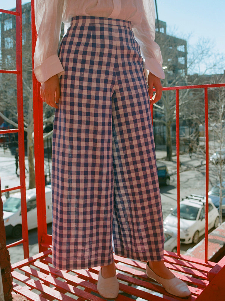 CLEM WIDE LEG TROUSER / BLUE LINEN CHECK