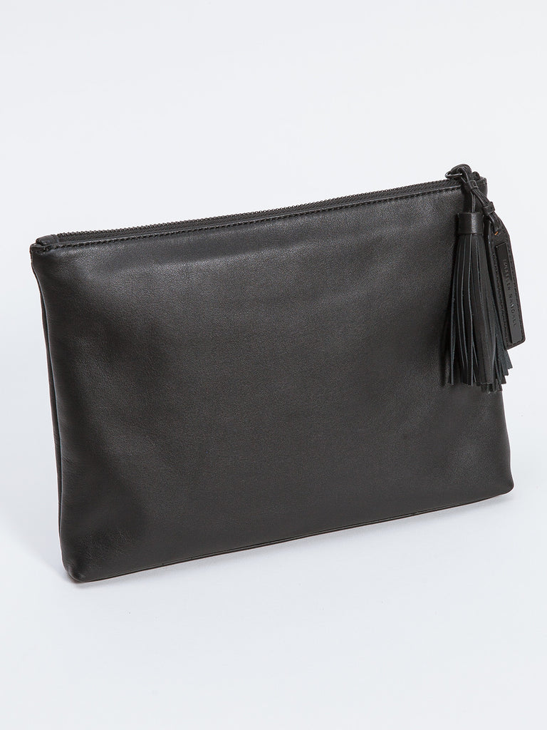 TASSEL POUCH / BLACK LEATHER