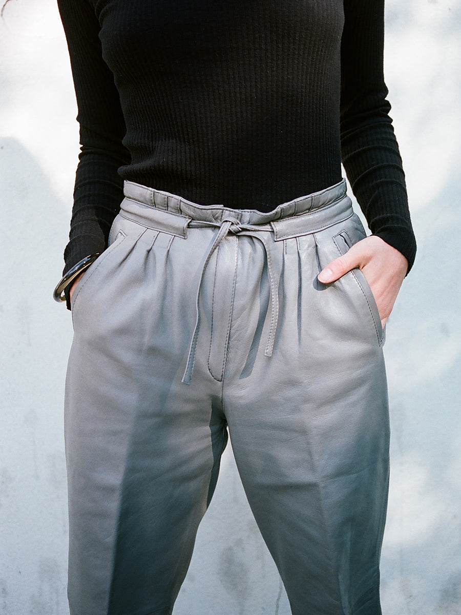 VINTAGE LEATHER DRAWSTRING TROUSER