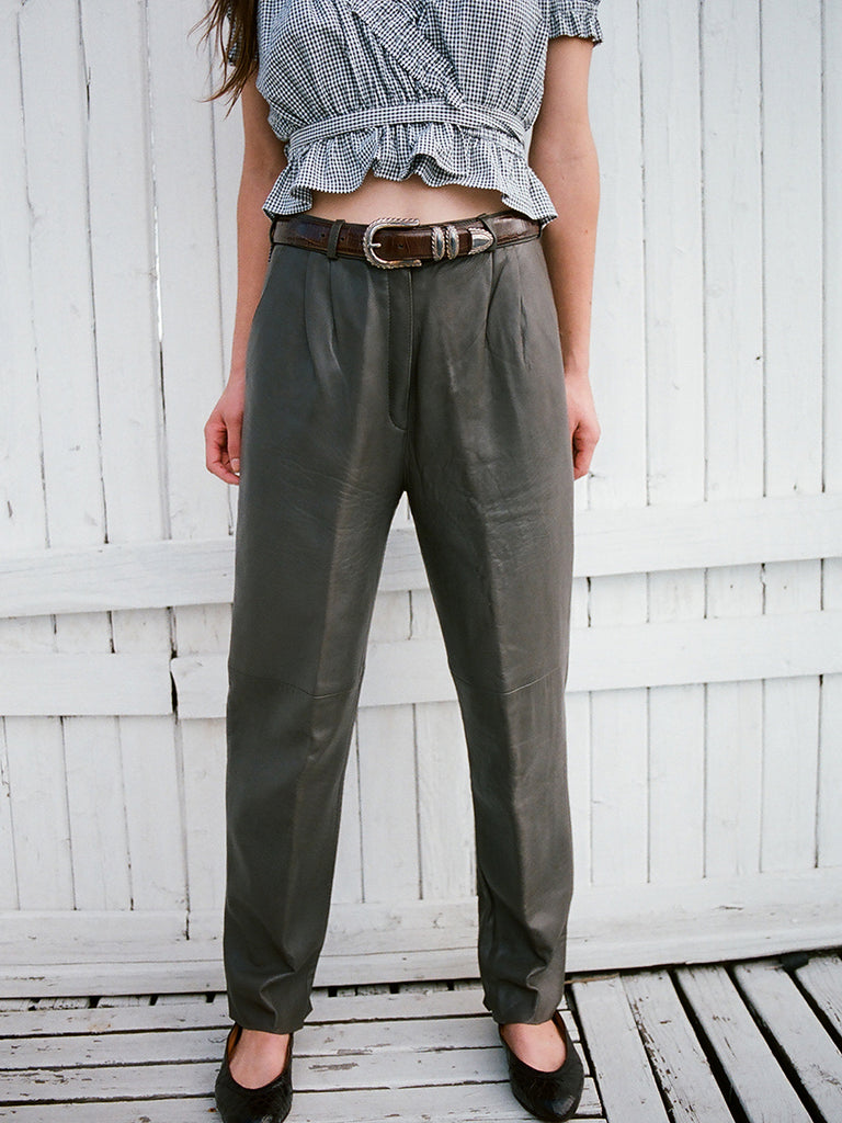 VINTAGE PLEATED LEATHER TROUSER