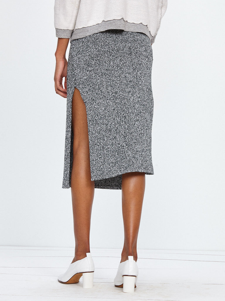 MELANGE KNIT SIDE SLIT SKIRT