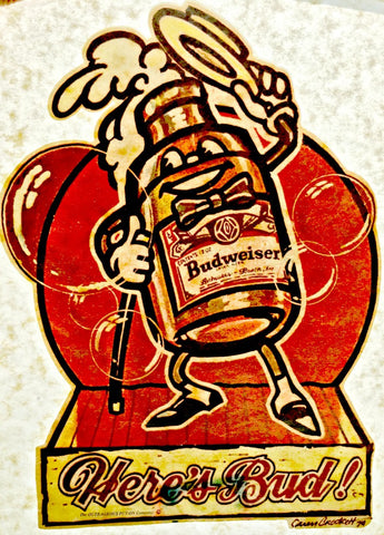 budweiser, here's bud, vintage, 70s, t-shirt, iron-on