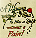 A Woman without A Man Neck w out Pain Vintage t-shirt iron-on transfer nos retro tee patch glitter