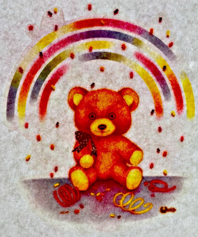 rainbow teddy bear 70s vintage t-shirt iron-on