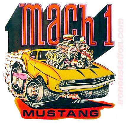 MUSTANG MACH 1 Hot Rod race cars trucks Vintage tee shirt Iron On Authentic 70s NOS new old by Roach