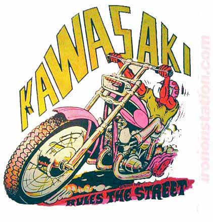 KAWASAKI Moto X Hot Rod Vintage tee shirt Iron On Authentic 70s NOS by Roach 1970 new old