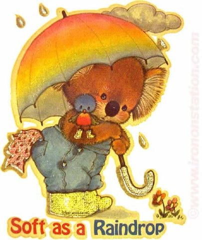 "Cute BEAR IN RAIN 70s Vintage Iron On tee shirt transfer Original Authentic ""Soft as a Raindrop"""