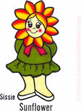 SISSY SUNFLOWER happy hippy 70s Vintage Iron On tee shirt transfer Original Authentic