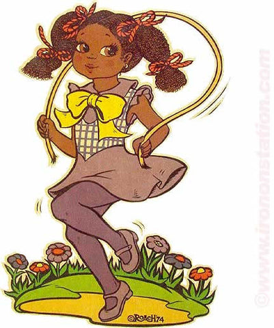 Young Girl JUMPING ROPE in 1974 by ROACH 70s Vintage Iron On tee shirt transfer Original Authentic