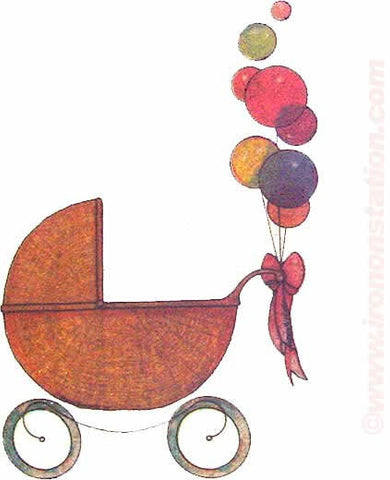 BABY CARRIAGE and BALLOONS in glitter 70s Vintage Iron On tee shirt transfer Original Authentic