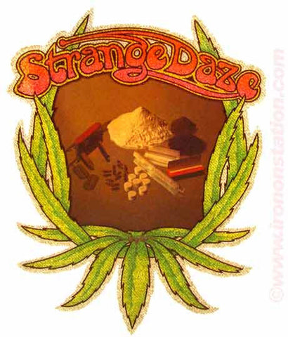 420 STRANGE DAZE Marijuana Pot 70s Vintage Retro Iron On tee shirt transfer Original Authentic pot coke