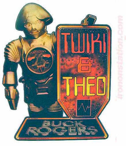 BUCK ROGERS Twiki & Theo Vintage tv Iron On tee shirt transfer Original Authentic NOS