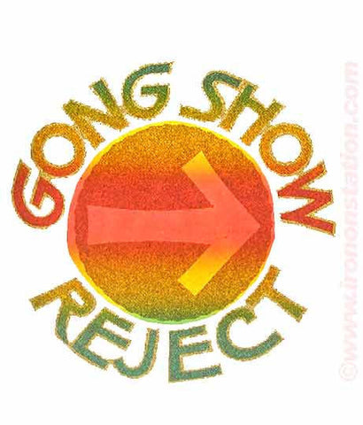 gong, show, reject, t-shirt, iron-on, 70s