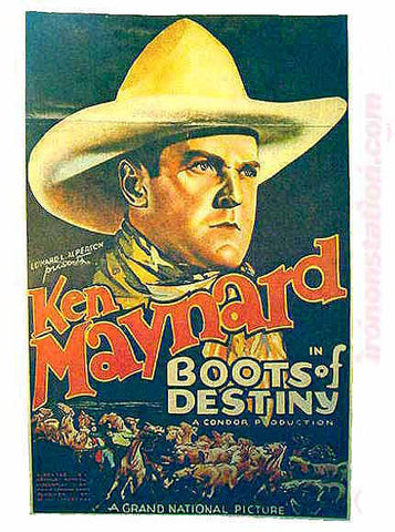 "KEN MAYNARD ""Boots of Fury"" tv Vintage Iron On tee shirt transfer Original Authentic"