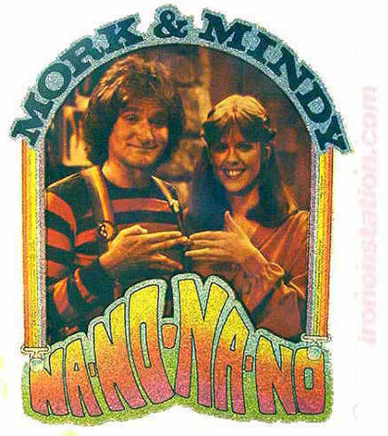 vintage, mork, mindy, robin williams, mindy mcconnell, t-shirt, iron-on, diy, american fashion, nano nano